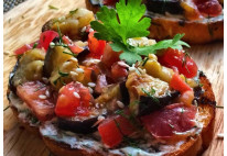 Bruschetta d'aubergine et tomate confite - 20 pcs